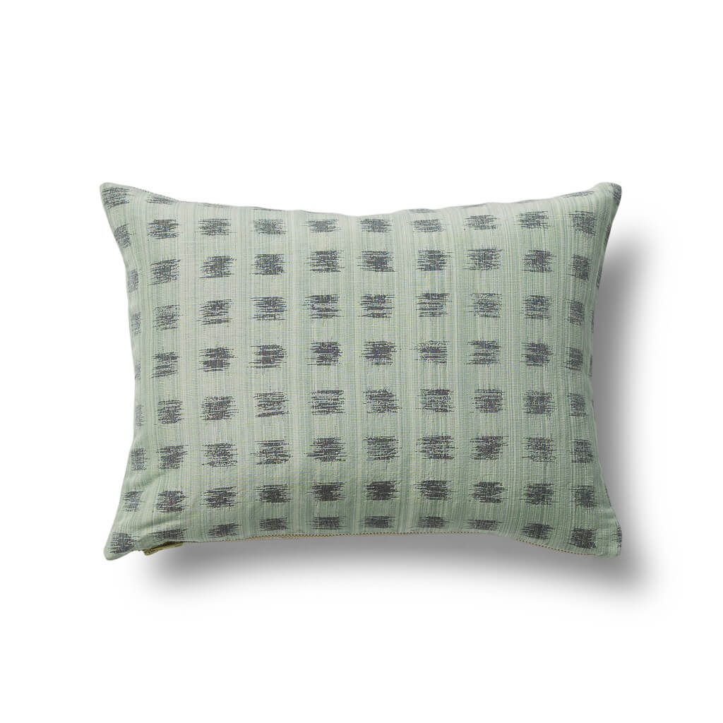 Gridded Ikat Pillow in Dennis Green