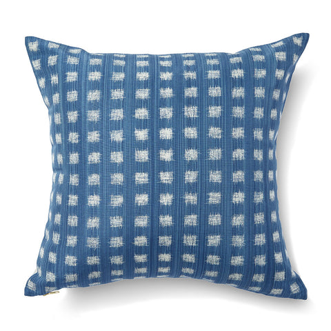Gridded Ikat Pillow in Ocean Blue