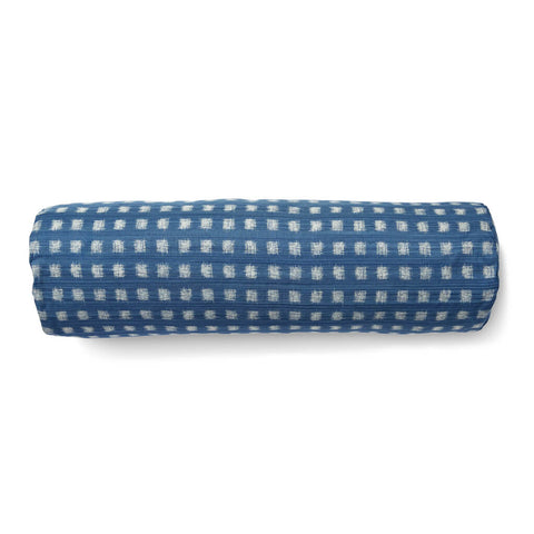 Gridded Ikat Bolster in Ocean Blue