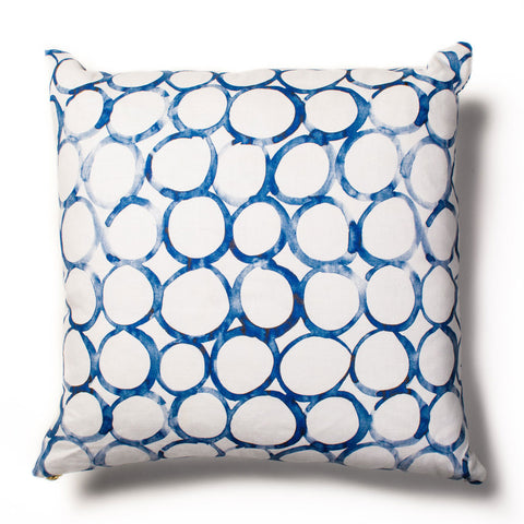 Interlocking and Looped Mini Circles Pillow in Cobalt