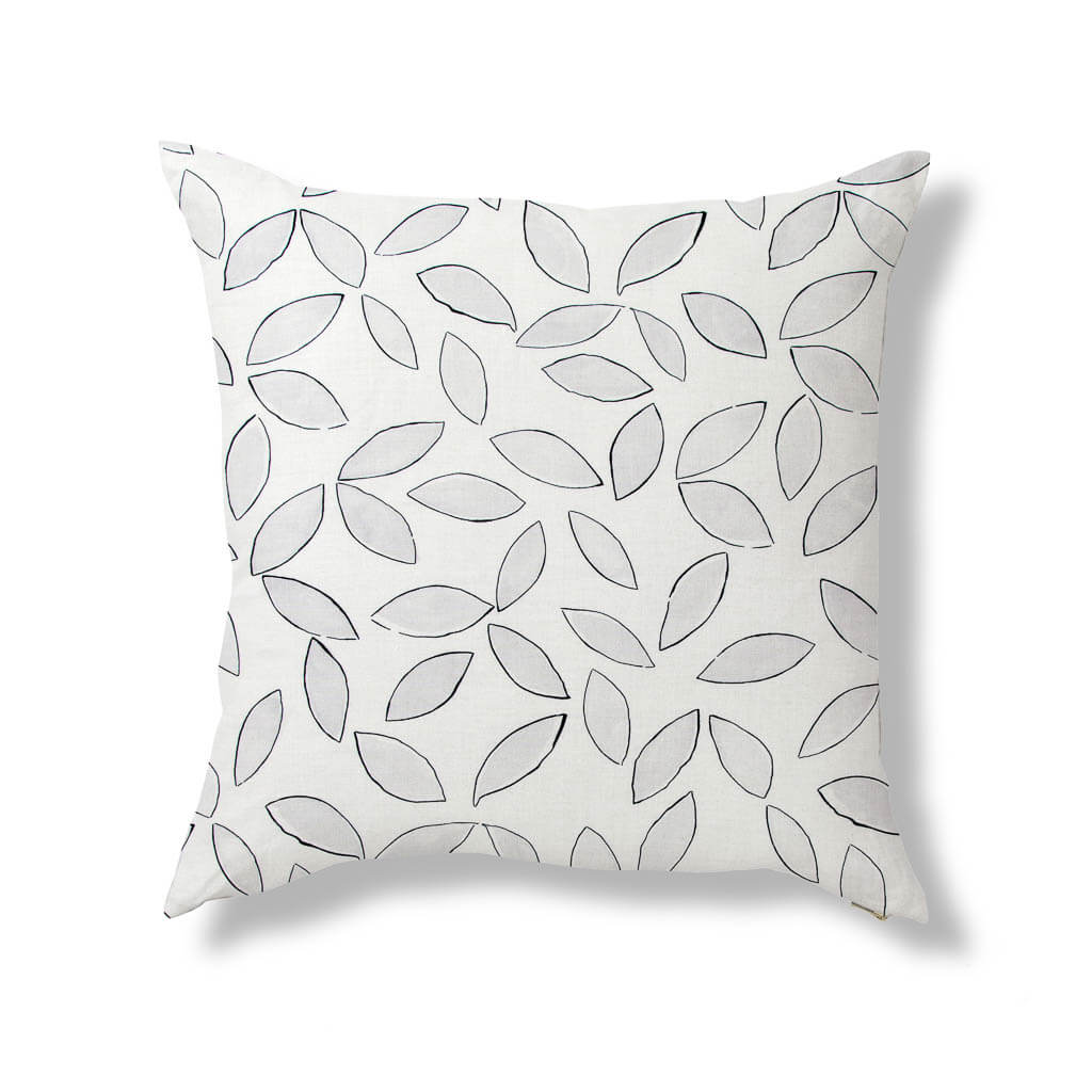 Leaves Pillow in Stone Gray