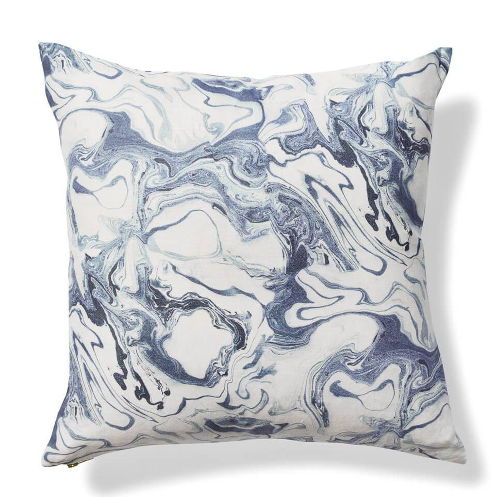 Marble Pillow in Sea Blue