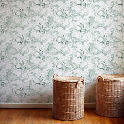 Marble Wallpaper in Soft Jade - 5 Yards