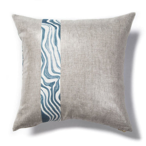 Marbled Stripe Pillow in Navy