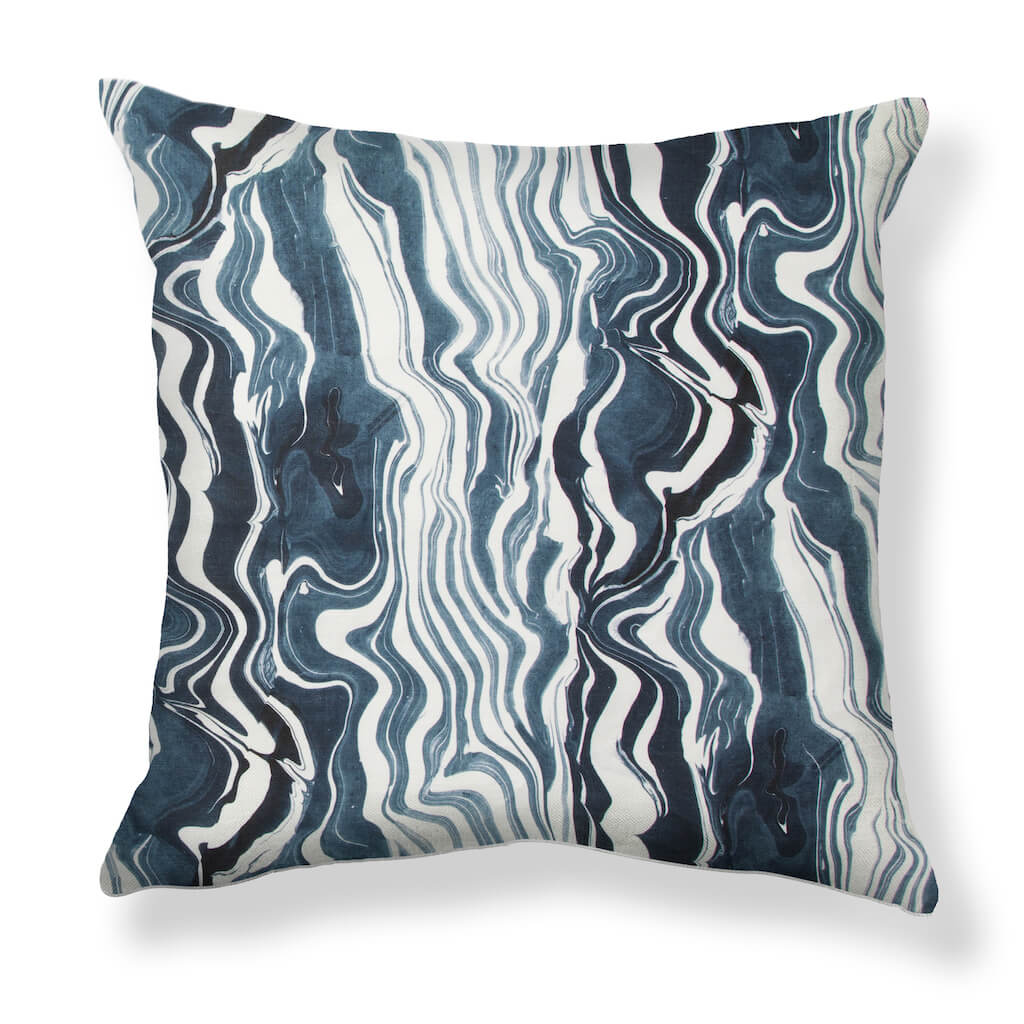 Marbled Stripe Pillows in Navy