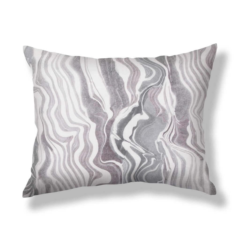 Marbled Stripe Pillows in Gray-Lilac