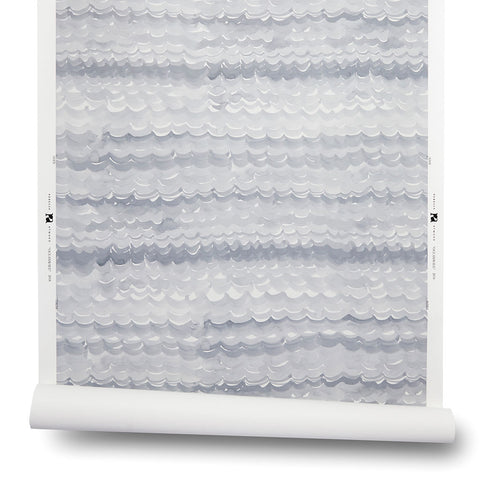 Oceanwave Wallpaper in Soft Gray