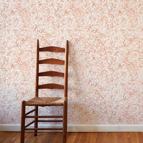 Painted Foliage Wallpaper in Peach - 3 Yards