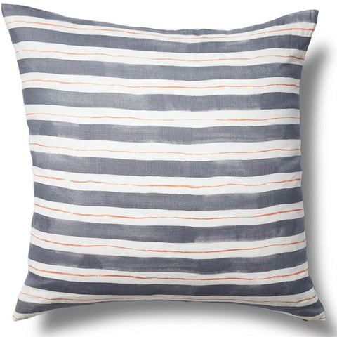 "Painted Stripe Pillow Cover in Gray/Tangerine 24""x24"""