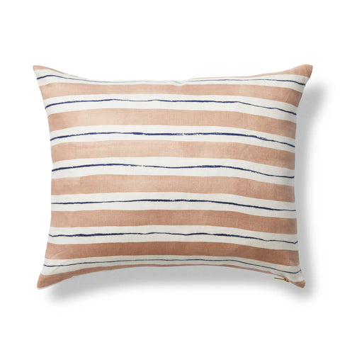 Painted Stripe Pillow in Coffee/Blue