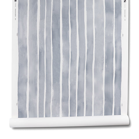 Painted Stripe Wallpaper in Storm