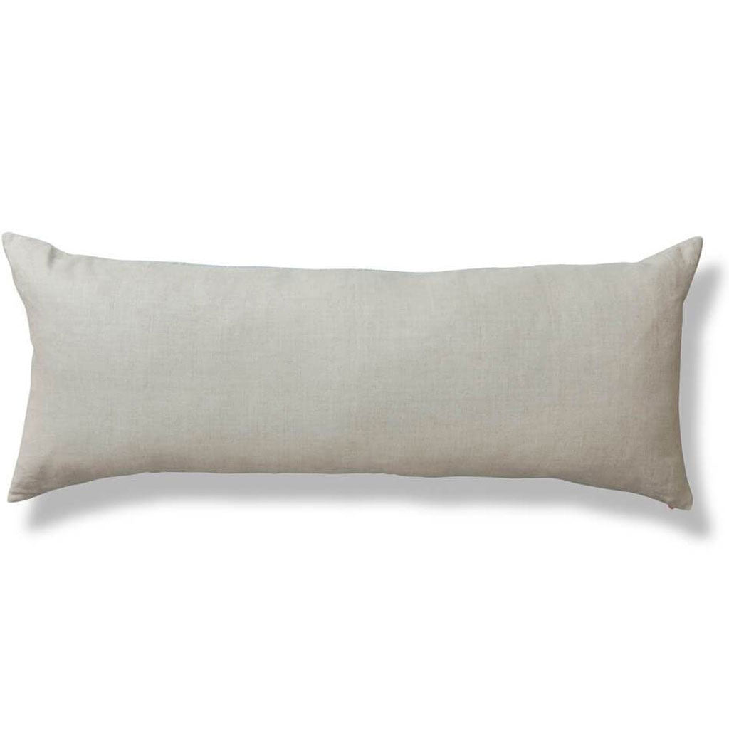 Sashiko Stitch Lumbar Pillow in Pale Mist