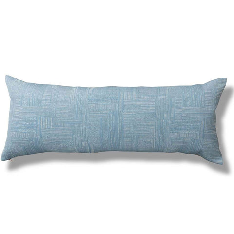 Sashiko Stitch Lumbar Pillow Cover in Pale Mist
