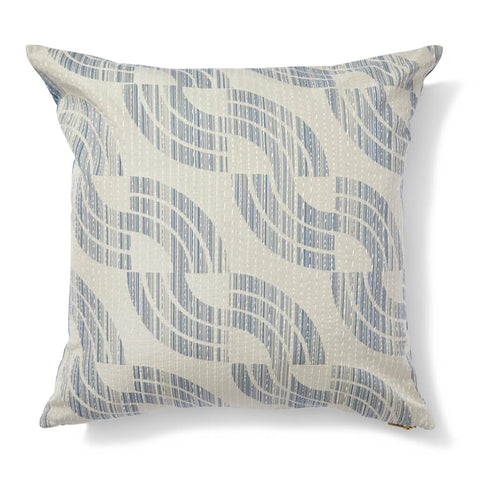 Sashiko Wave Pillow in Sea Blue