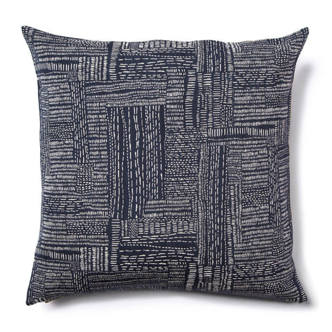 "Sashiko Stitch Pillow Cover in Navy 22""x22"""