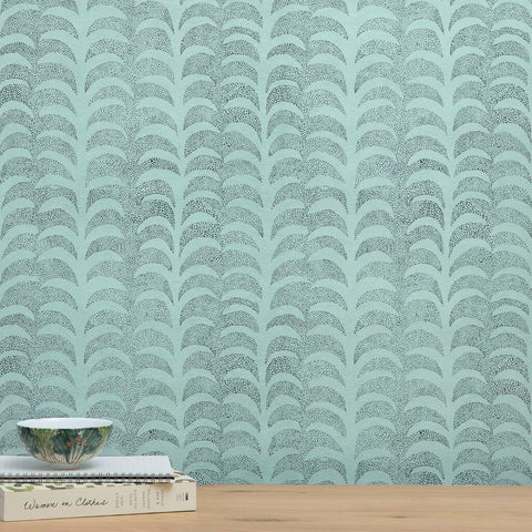 Dotted Palm Wallpaper in Ice Mint/ Deep Marine - 20 Yards