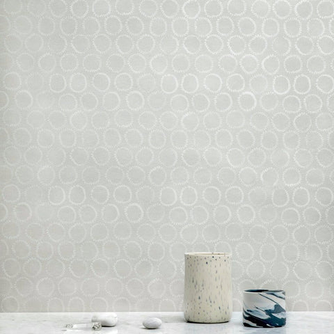 Sun Stamp Wallpaper in Silver/Gray - 25 or 30 Yards