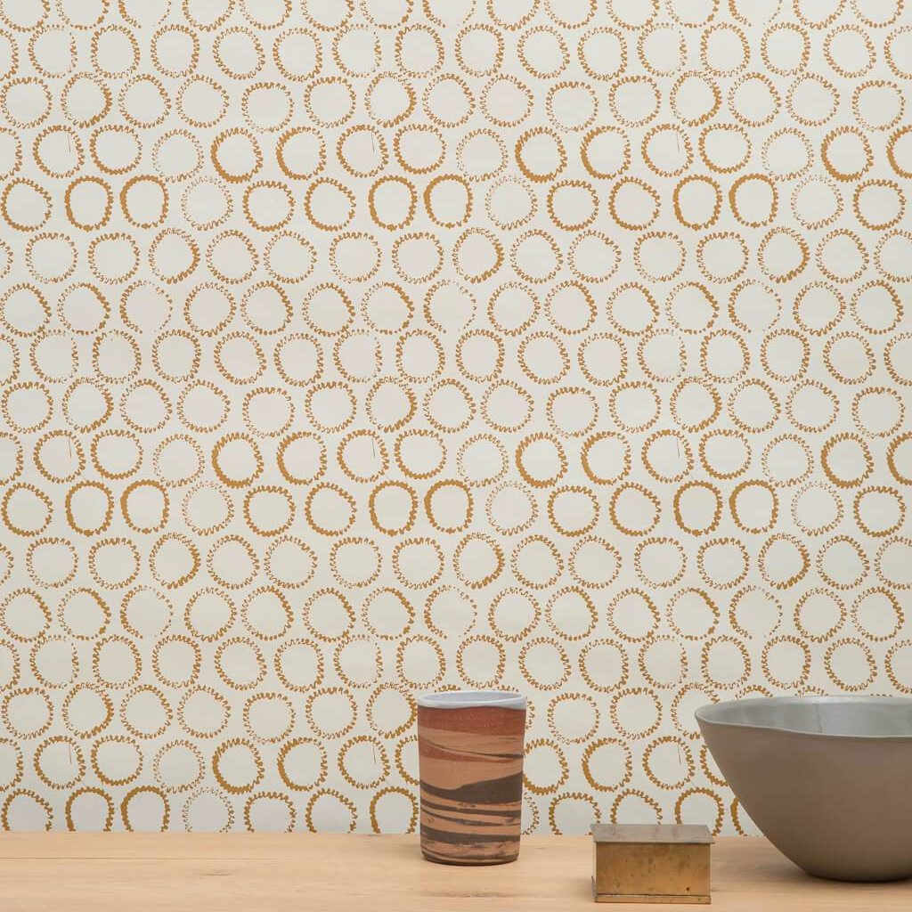 Sun Stamp Wallpaper in Gold/Ivory