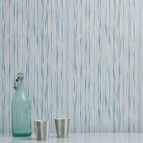 Thin Stripe Wallpaper in Blues