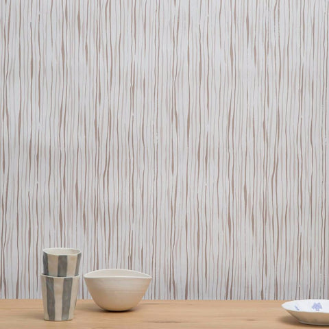 Thin Stripe Wallpaper in Taupe - 30 Yards