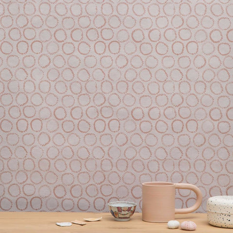 Sun Stamp Wallpaper in Blush - 25 or 30 Yards