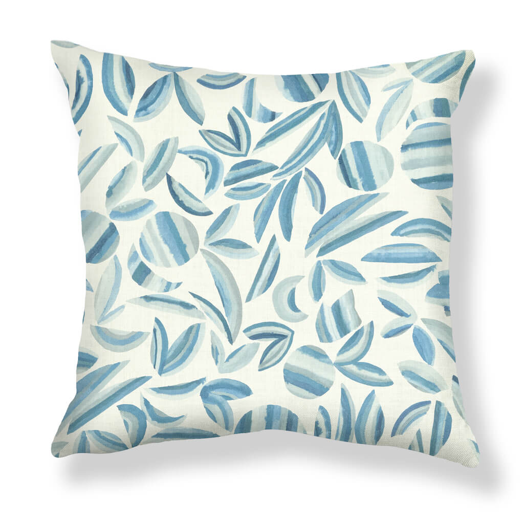 Striped Garden Pillows in Ocean Blues