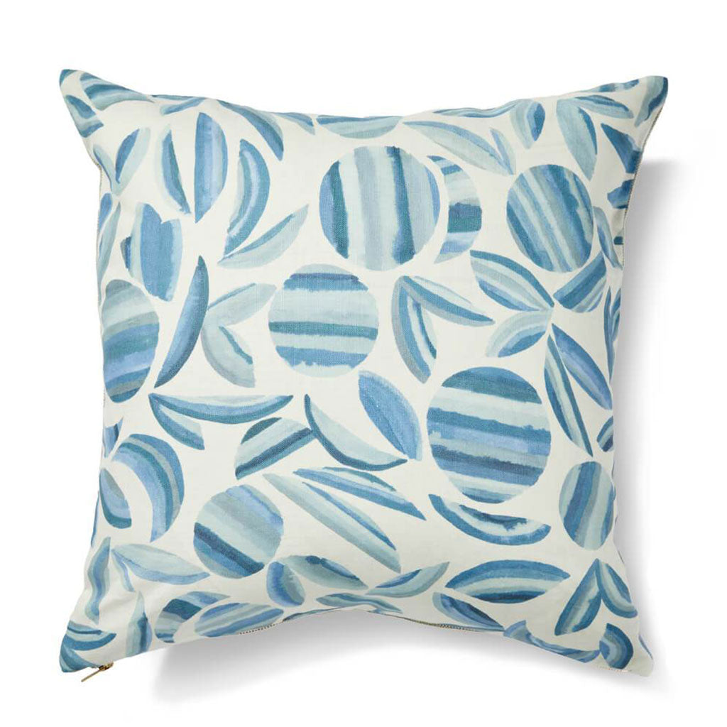 "Striped Garden Pillow Cover in Ocean Blues 20""x20"""