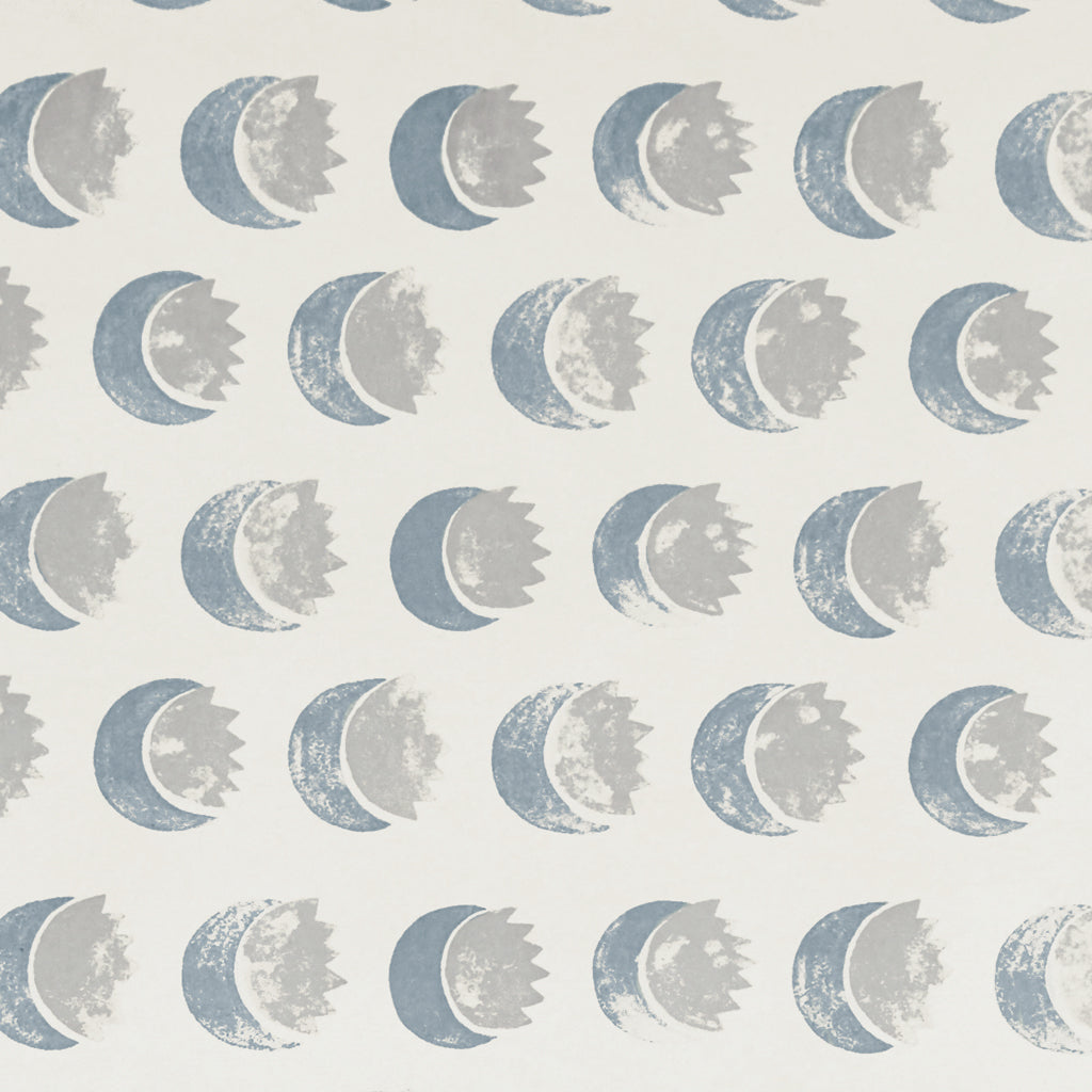 Sun and Moon Wallpaper in Blue-gray
