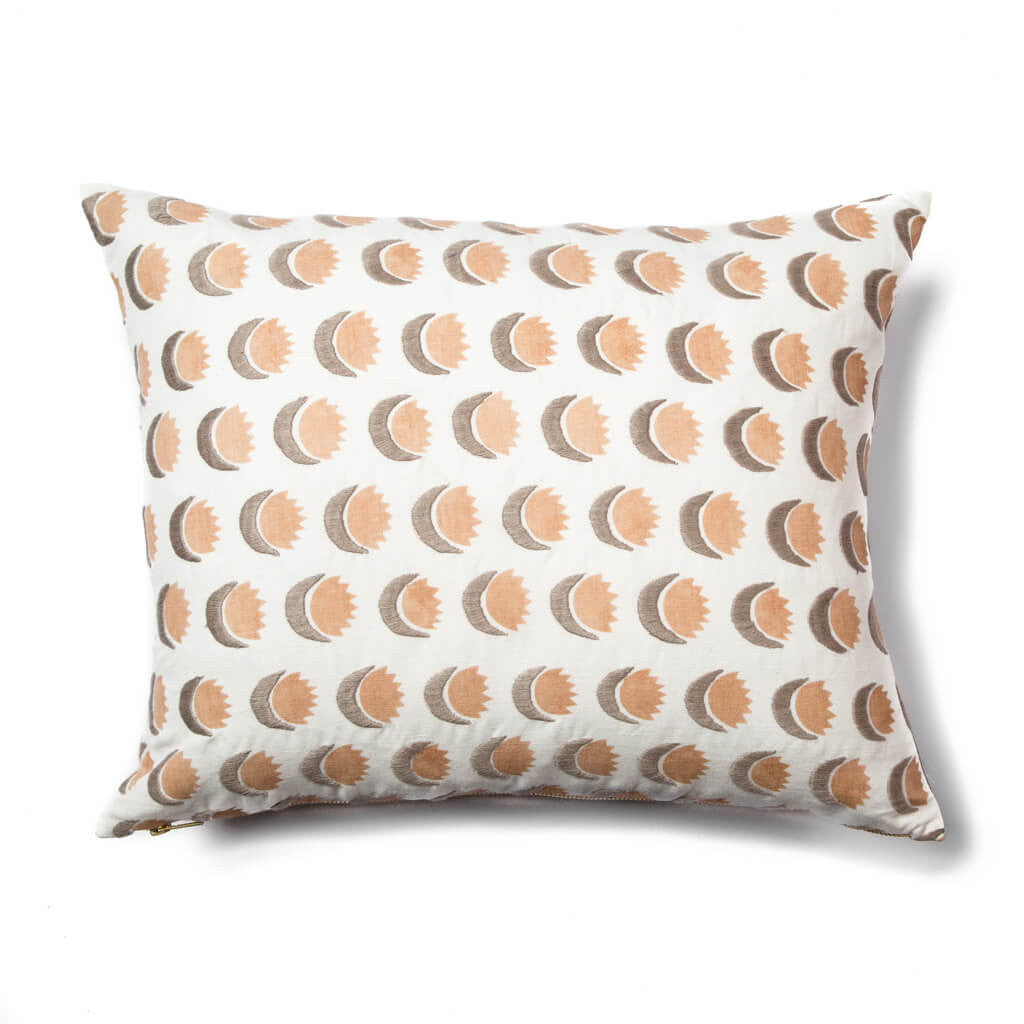 Sun and Moon Pillow in Blush/Gray