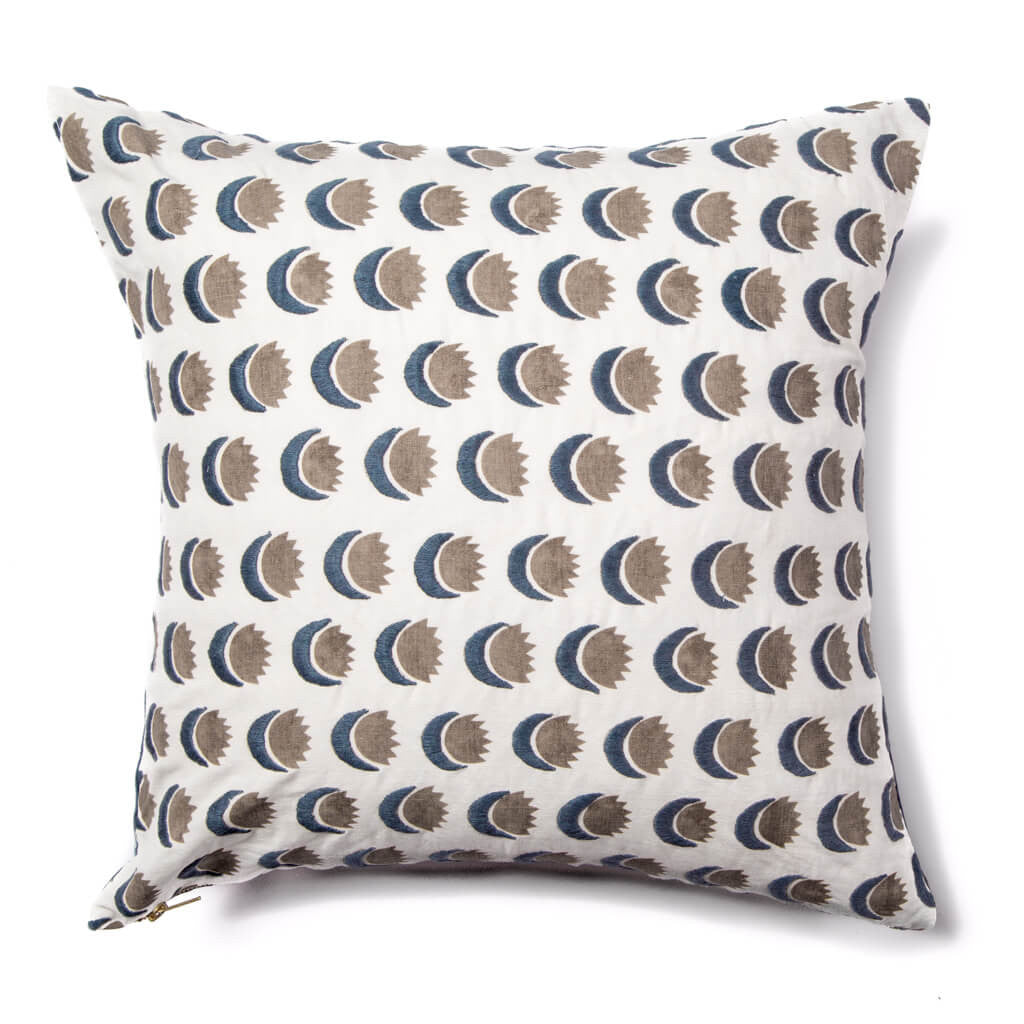 Sun and Moon Pillow in Navy/Smoke