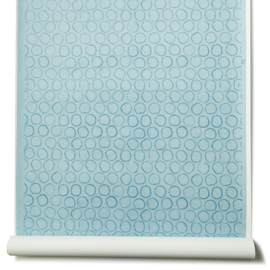 Sun Stamp Wallpaper in Blues - 30 Yards