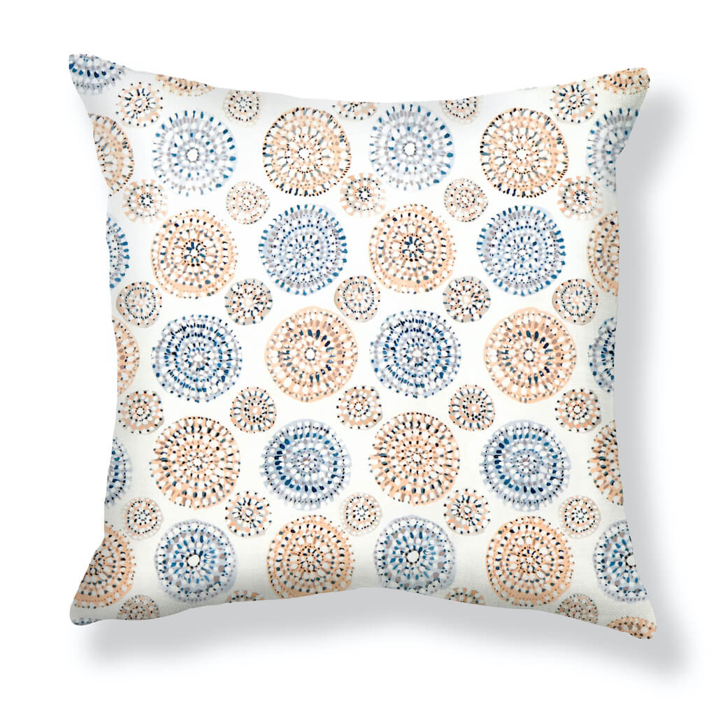 Sundial Pillows in Blue / Peach