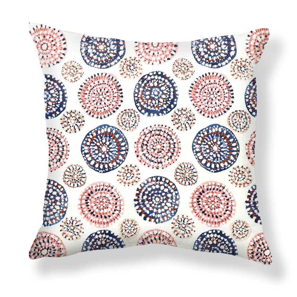 Sundial Pillows in Navy / Rose