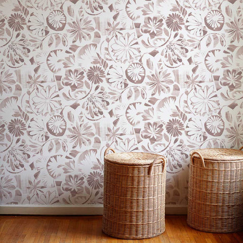 Floral Collage Wallpaper in Taupe