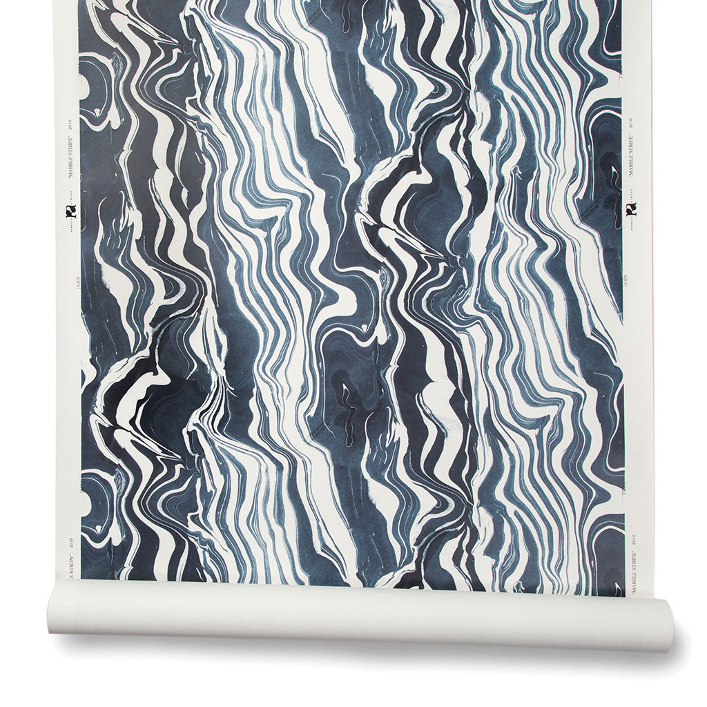 Marbled Stripe Wallpaper in Navy