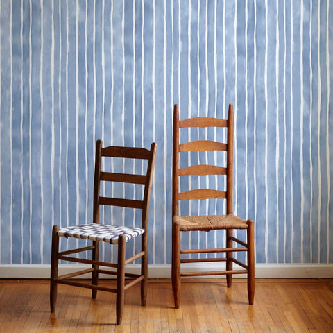 Painted Stripe Wallpaper in Rain - 4 Yards