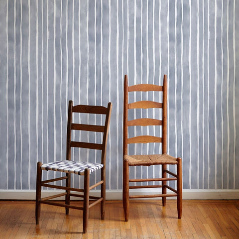 Painted Stripe Wallpaper in Storm - 4 Yards