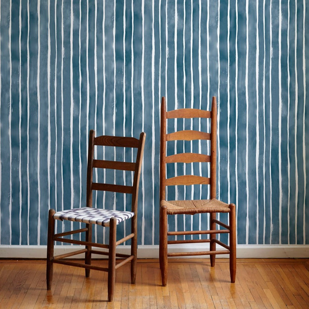 Painted Stripe Wallpaper in Navy