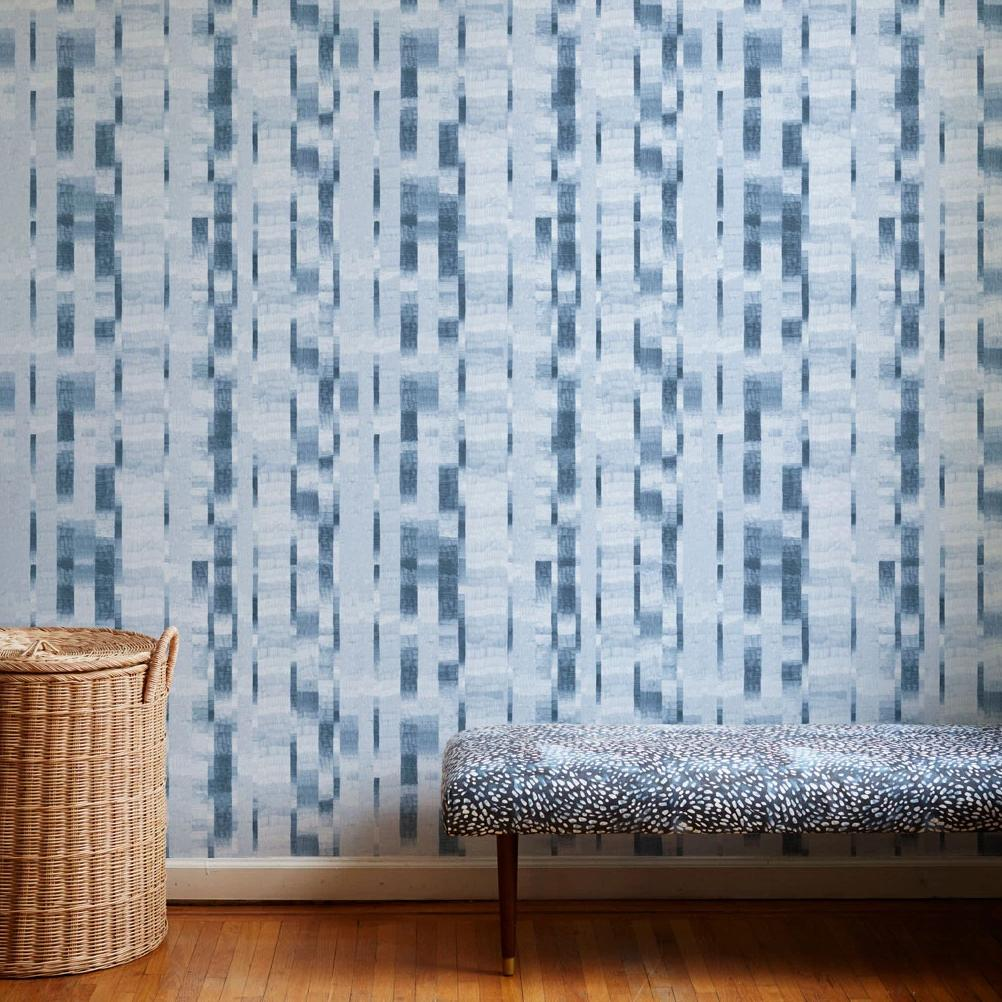 Pencil Stripe Wallpaper in Blue-Slate