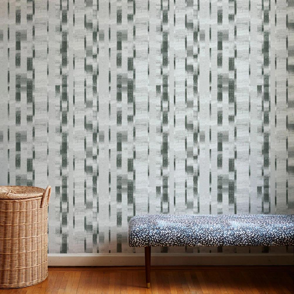 Pencil Stripe Wallpaper in Graphite