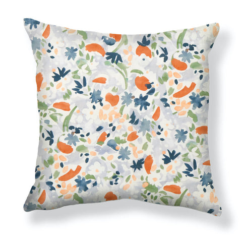 Wildflower Pillows in Blue / Tomato