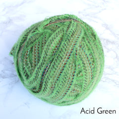 Ragged Life Rag Rug Blanket Yarn 100% Wool for Rag Rugging Crochet in Strips in Acid Bright Green Stitch