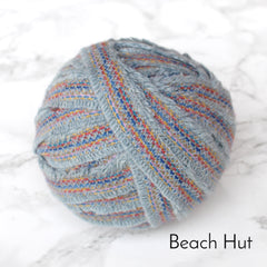 Ragged Life Rag Rug Blanket Yarn 100% Wool for Rag Rugging Crochet in Strips in Beach Hut Blue with Stitching