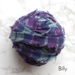 Ragged Life Rag Rug Blanket Yarn 100% Wool for Rag Rugging Crochet in Strips in Billy Purple, Blue and Navy