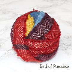 Ragged Life Rag Rug Blanket Yarn 100% Wool for Rag Rugging Crochet in Strips in Bird of Paradise Red, Maroon, Blue and Yellow
