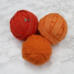 Ragged Life 100% Wool Rag Rug Blanket Yarn BallsMixed Oranges in Variety of Shades