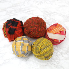 Ragged Life Rag Rug Blanket Yarn Balls 100% Wool Mixed Range Patterned Red Orange Yellow