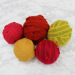 Ragged Life Rag Rug Blanket Yarn Balls 100% Wool in Block Mixed Reds Oranges Yellows