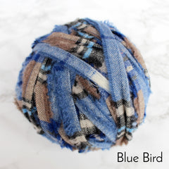 Ragged Life Rag Rug Blanket Yarn 100% Wool for Rag Rugging Crochet in Strips in Blue Bird with Brown