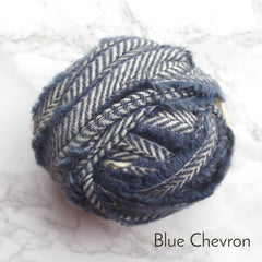 Ragged Life Rag Rug Blanket Yarn 100% Wool for Rag Rugging Crochet in Strips in Blue Chevron with White